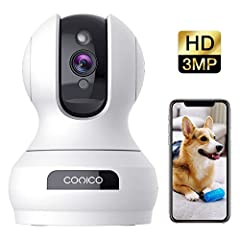 Key Features: 1. Indoor wifi security camera with 100° Pan and 350° tilt rotation. 2. Records video in brilliant 3M (1536p) and includes built-in microphone/speakers. 3. Night vision up to 32ft provides clear night monitoring. 4. Real-time al...