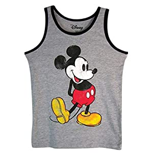 Disney Boys Gray and Black Nostalgia Mickey Mouse Tank Top Shirt