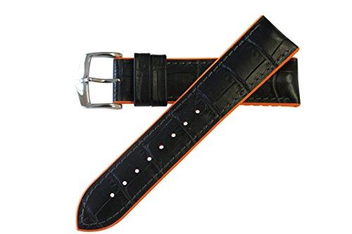 Orange Strap Alligator (Hirsch Performance Andy Calfleather Alligator Embossed Rubber Lining Watch Band Strap BLACK / ORANGE 22mm)