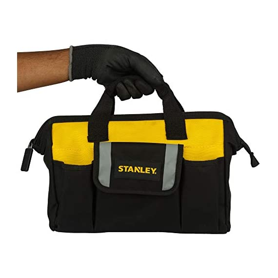 STANLEY STST512114 12'' Multipurpose Tools Storage Water Proof Open Mouth Bag (Yellow-Black) 6