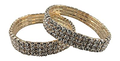 SIMPLICHIC Rhinestone Stretch Bracelet for Women   Gold & Silver   Brides   Bridal & Wedding   Costume   Pageant   Multiple Size and Sets