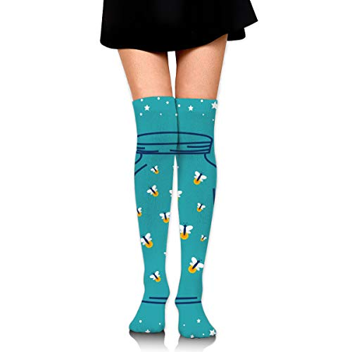 PengMin Firefly in Jar Cotton Compression Socks for Women. Graduated Stockings for Nurses, Maternity, Travel, Flight,Varicose Veins,Running & Fitness, Calf Support. -