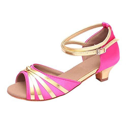 - OrchidAmor Fashion Women Dancing Rumba Waltz Ballroom Latin Dance Low-Heeled Sandals Shoes 2019 Hot Pink