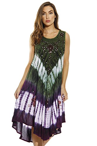 21314-OP-M Riviera Sun Dress / Dresses for Women,Olive / Purple,Medium