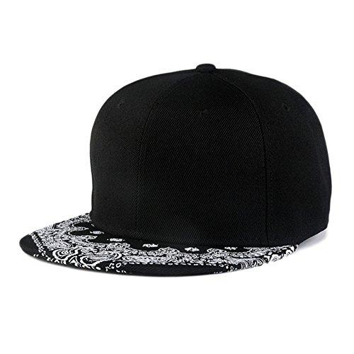 4c8806aa44f Sunlitro Unisex Flat Bill Hip Hop Hat Snapback Baseball Cap (Black 21)