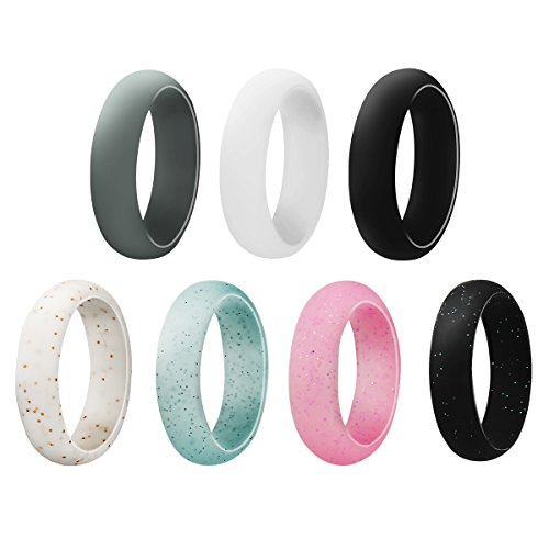 Womens Silicone Wedding Ring Band – Jowwier Ring 7 Pack Premium Wedding Bands Engagement Active Athletes Comfortable Fit Non-toxic Antibacterial Review