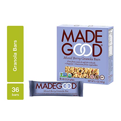 (MadeGood Mixed Berry Organic Granola Bars, 6 Pack (36 Bars); Allergy-Friendly, Nut-Free, Gluten-Free; Vegan and Non-GMO Certified; Nutrients Equal to a Serving of Vegetables; Ethically-Sourced)
