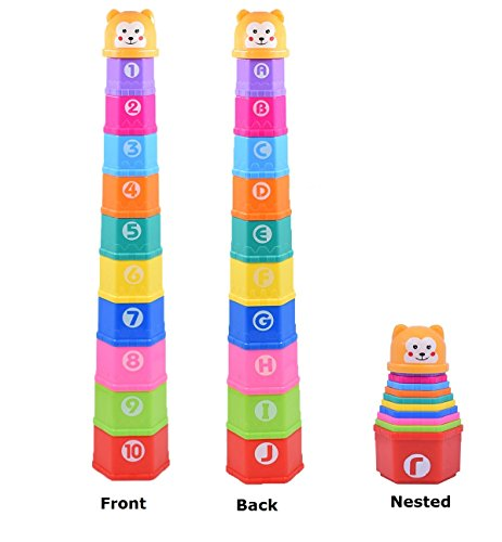 s with 1 to 10 Numbers and ABC Letters Stack Game Bath Toy for Toddlers (Hexagon Tower)