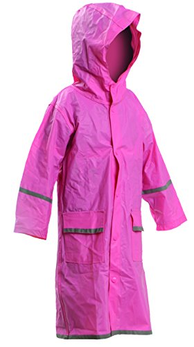 Kids Water Proof Rain Coat with Reflector - Juniors Premium Rain Jacket - Girls (Pink L)