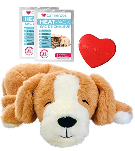 Calmeroos Puppy Heartbeat Toy Sleep Aid with 2 Long-Lasting Heat Packs Last 36 Hours Each Puppy Anxiety Relief Soother Dogs Cuddle Snuggle Calming Behavioral Aid for Pets