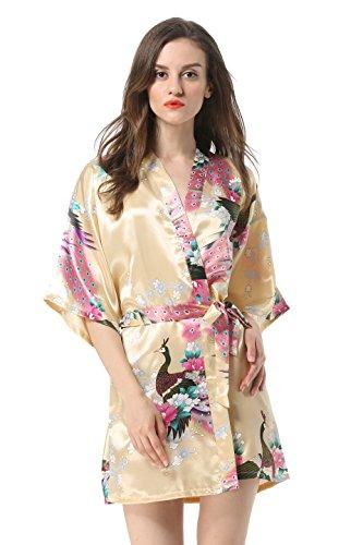 Vogue Forefront Women's Peacock&Flower Print Satin Short Kimono Robe, Small, Yellow