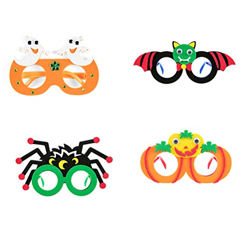 PRETYZOOM 4Pcs Halloween Eyeglasses DIY Craft Costume Glasses Felt Pumpkin Bat Ghost Spider Eyeglasses Eyewear for Party Supplies(Random Pattern) -