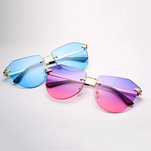 De Mirada GUOHONG Teñido Colorida De Glasses Gafas Blue CX Irregular De Multi Frameless Big Casual Gafas Colored Trimming Ocean Moda Polígono Sol Ciclismo Sol rqqIHwC