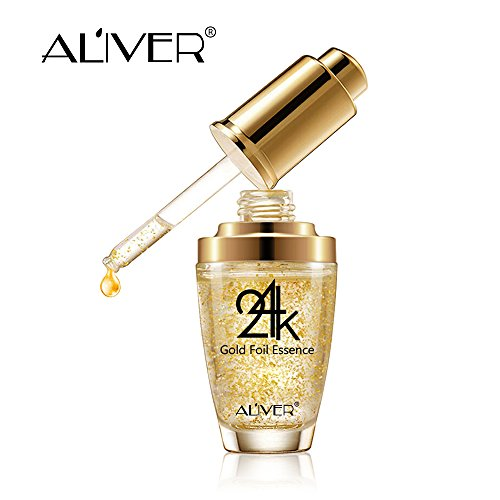 24k Pure Gold Foil Essence Serum, Makeup Primer, Moisturizing Anti-Aging Anti-Redness Acne Treament Essencial Cream, Face Skin Essence Serum Hyaluronic(30ml/1 ounce))