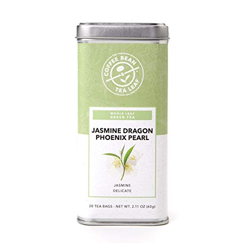 The Coffee Bean & Tea Leaf, Tea, Jasmine Dragon Phoenix Pearl, 20 Count Tin, 2.11oz (Tea And Coffee Tins)