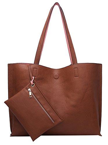(ilishop Stylish Tote Bag Reversible Shoulder Handbag with Coin Purse for Women (Brown-pink))