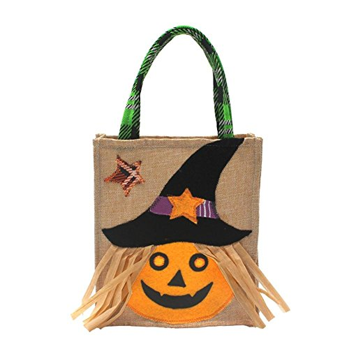 Big-time Halloween Candy Gift Bag with Handle, Trick-or-Treat Tote Bag Durable Non-Woven Fabric Halloween Candy Bag Witch/Ghost/Black Cat Printed Halloween Party Supplies