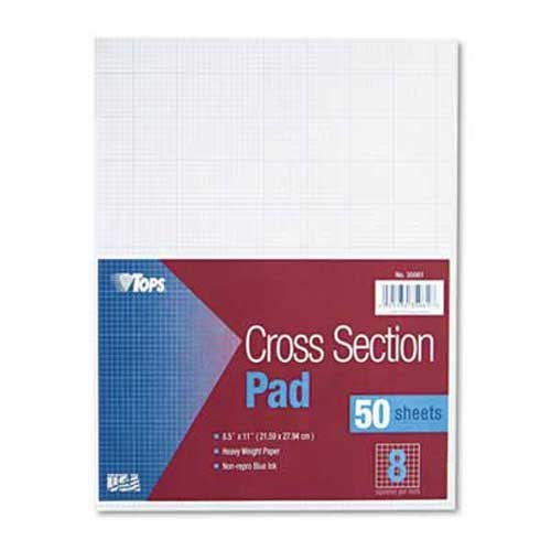 TOPS Cross Section Pads, 8 Squares, 8 1/2 x 11, White, 50 Sheets