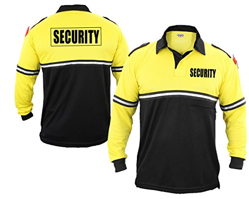 f605d2515b96 First Class Security 100% Polyester Two Tone Bike Patrol Shirt w/ Zipper  Pocket – Long Sleeve (1X-Large, Yellow and Black)