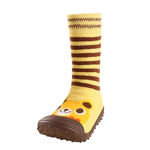 HAALIFE◕‿ Infant Baby Cartoon Patterned Soft Rubber Bottom Anti-Slip Floor Socks Boots Yellow