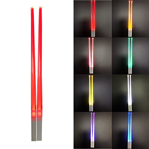 Lightsaber Chopsticks Glowing Dark In the Night Luminous Healthy and Eco-friendly Reusable Chopsticks Chinese Tableware Washable for Chinese//Japanese blue 1 Pair LED Light Up Chopsticks