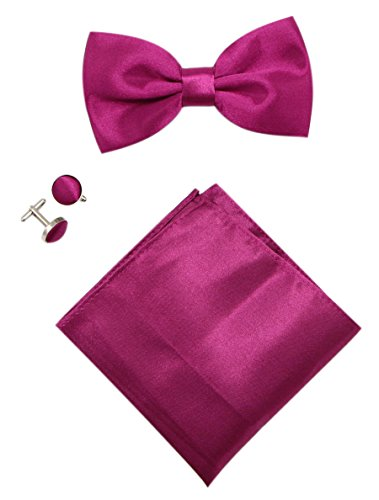mens-solid-stain-pre-tied-tuxedo-bow-tie-cufflinks-pocket-square-set-by-jaifei-fuchsia