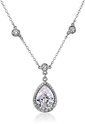 Sterling Silver Cubic Zirconia Station Necklace, 18
