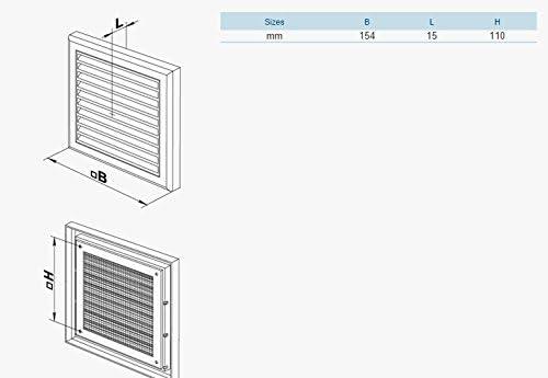 vierkant MV 100 S BEIGE Abluftgitter L/üftungsgitter L/üftgitter Gitter mit feststehende Lamellen und Insektenschutz