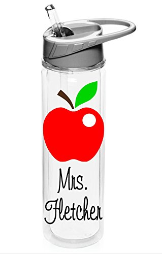 Personalized INSULATED Sport water bottle Teacher Apple design with name BPA Free 19 oz, clear bottle with polka dots, vinyl design (Insulated)