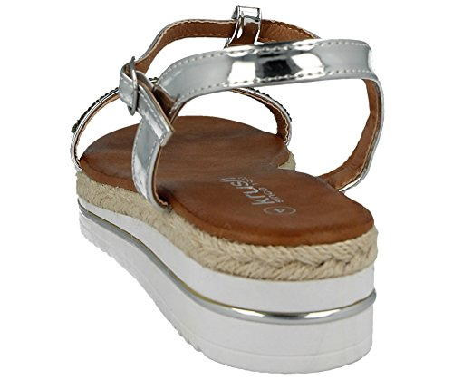 Ladies Faux Leather Patent Fashion Diamante T Bar Open Toe Wedge Flatform Summer Sandals Size 3-8 Silver pI5ApHe