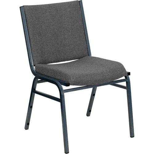 - Parkside Series Heavy Duty 3-inch Thickly Padded Gray Upholstered Stack Chair with Ganging Bracket