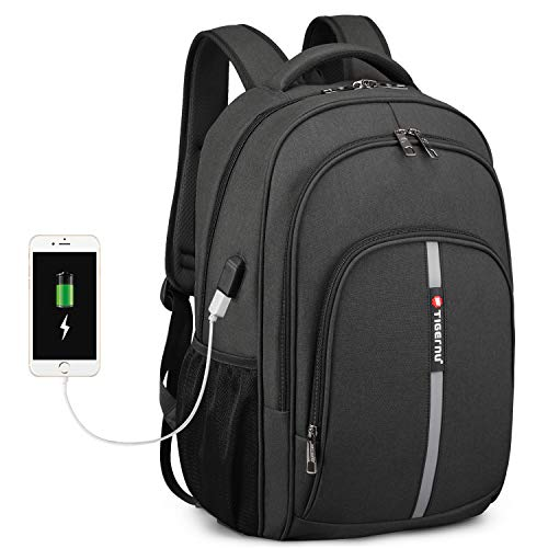 Business Travel Backpack, Fintie Extra Large Heavy Duty Rucksack with USB Port and Reflective Strip for College School Outdoor Daypack Women Men Fits 15.6 Inch Laptop Notebook, Black