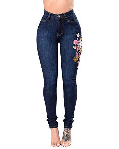 Mujer Vaqueros Push Up Rotos Ocio Estilo Stretch Skinny Jeans De Bordado Azul Marino