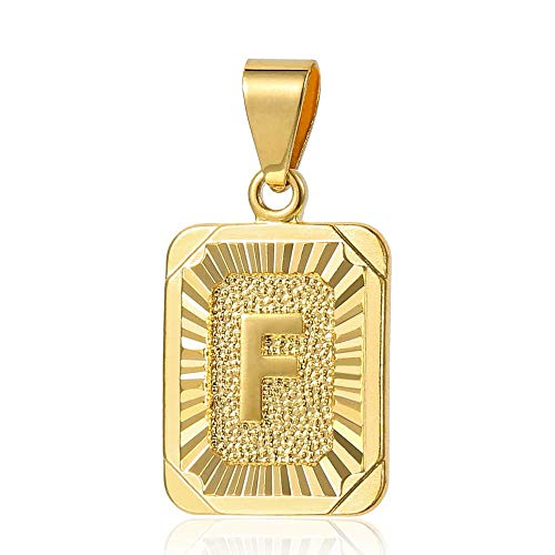 (Trendsmax Mens Womens Yellow Gold Plated Square Capital Letter F Pendant Only No Chain)