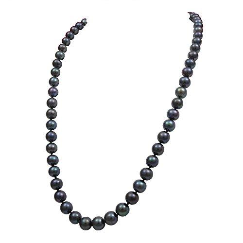 Orien Jewelry Black Freshwater Cultured Pearl Necklaces 8mm AA Cultured Pearl Pendant Necklace for Women