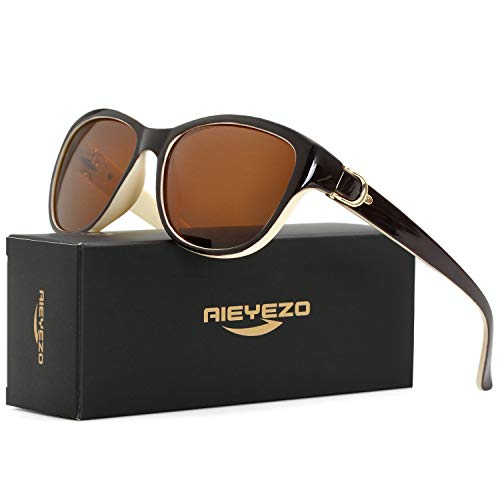 - Cat Eye Sunglasses for Women Vintage Polarized Sun Glasses Lady Luxury Brand -100% UV Blocking (Beige/Brown)