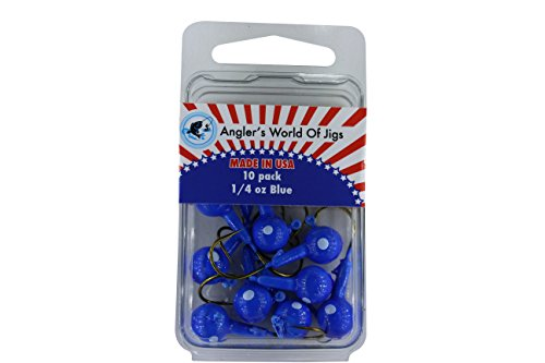 Jig Head Fishing Hooks - Fishing Lures Bait For Worms Shrimp In Freshwater - Glow In Dark and Available In Different Bright Colors by Angler's World Of Jigs (1/4 oz Blue - Bronze Hook, 10 Pack)