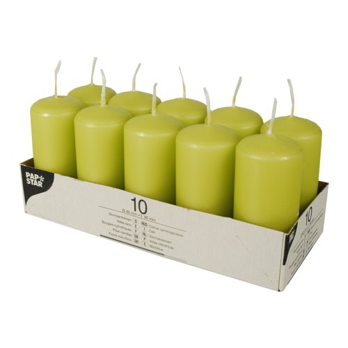 Papstar 10585  Round Green 10pc (s) Wax Candle Wax Candles (90  mm, 4  cm, 85  g, 10  pc (s)) 4 cm 85 g 10 pc (s))