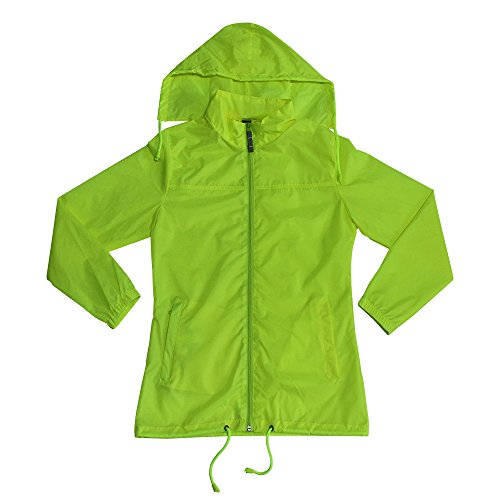 - MAYDU Women Lightweight Fluorescent Yellow Hooded Raincoat Cycling Active Waterproof Jacket (M)