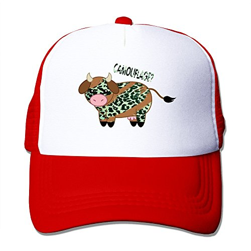 Cool Cow In The Leopard Pajamas Adult Baseball Trucker Hat Cap One Size Red