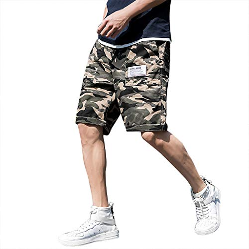ZOMUSAR Men's Summer Leisure Camouflage Overalls Multi-Pocket Trousers