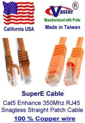 RED SuperEcable -20677-3 Pcs//Pack 3 Ft UTP Cat5e UL 24Awg Pure Copper Ethernet Network Patch Cable