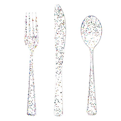 360pcs Clear Plastic Silverware,Clear Glitter Disposable Cutlery with Colorful Design,Plastic Forks and Spoons,120 Forks…