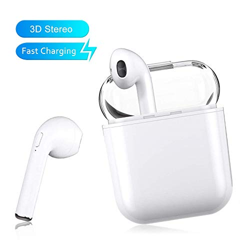 2019 Upgrade 5.0 Earbuds Earphones Stereo Sports Headphons Earbuds Noise Cancelling and Waterproof Headsets with Built-in Mic Portable Charging Case for Apple Airpods Android iPhone