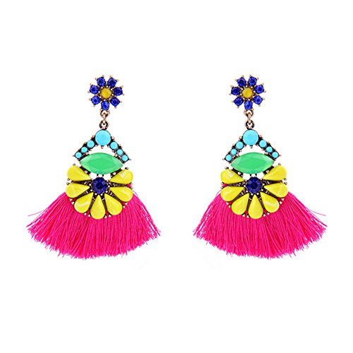 Short Tassel Drop/Dangle Earrings with Rhinestones and Gold Tone Colorful