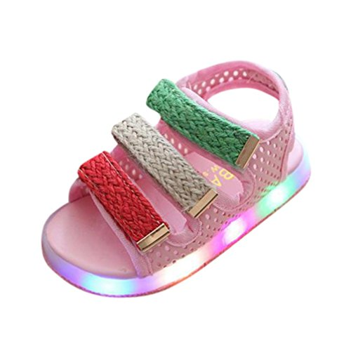 Moonker Kids Shoes,Toddler Baby Boys Girls Sport Summer Light-up Sandals LED Luminous Flat Shoes Sneakers 1-6 Years Old (2.5-3 Years Old, Pink) by Moonker