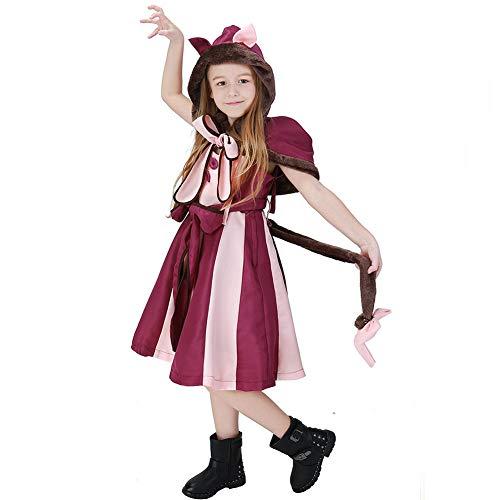 POP Style Alice in Wonderland Cheshire Cat Costume Halloween Hooded Fancy Dress (M)]()