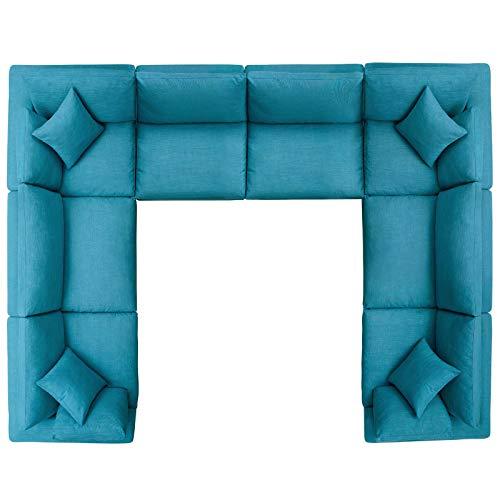 Modern Contemporary Urban Design Living Room Lounge Club Lobby Sectional Sofa Set, Fabric, Aqua Blue
