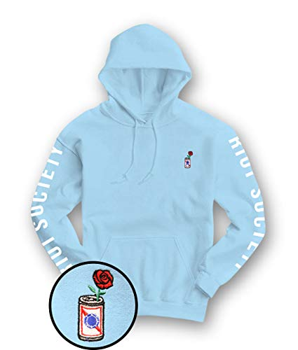 Beer Mens Sweatshirt Hoodie (Riot Society Beer Can Rose Embroidered Mens Hoodie - Light Blue, Large)