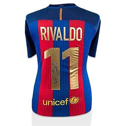 dbbaed5f0 Rivaldo Autographed Jersey - Barcelona Modern Shirt -  11 ...